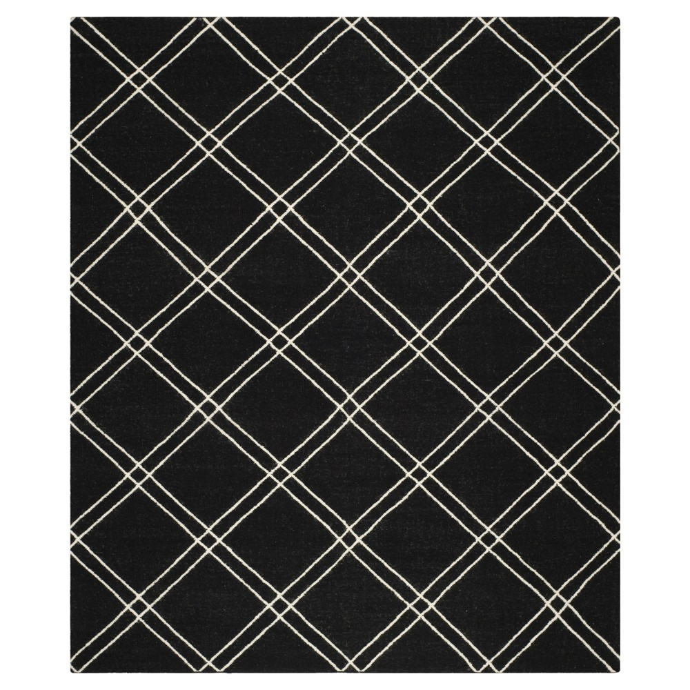 Dhurries Rug - Black/Ivory - (8'x10') - Safavieh