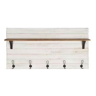 46.1  x 26  Wall Shelf with 5 Hooks White/Brown - Uniek