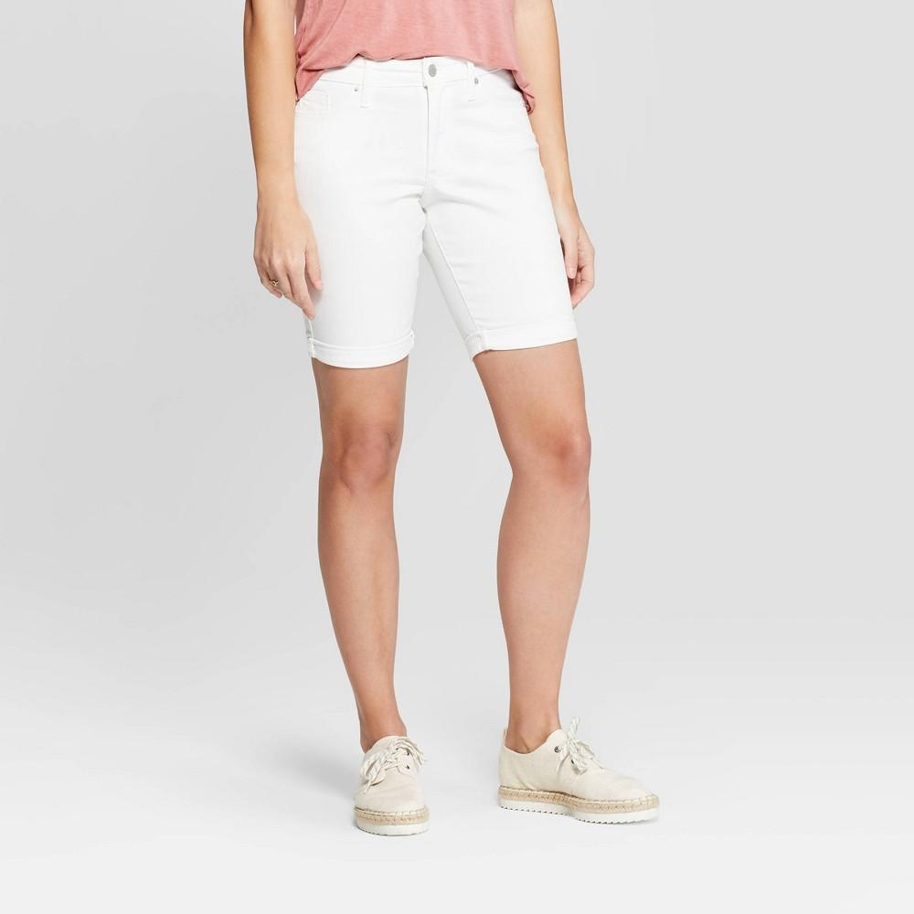 Women's High-Rise Double Cuff Bermuda Jean Shorts - Universal Thread White 2
