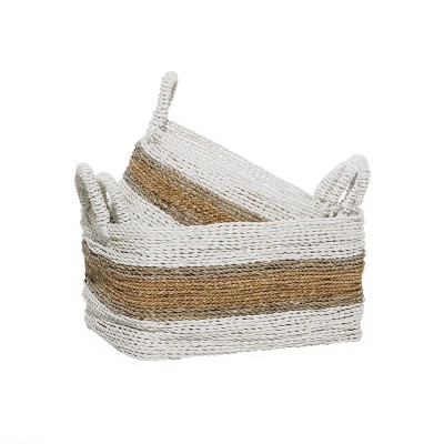 2pk Wood Natural Storage Baskets White