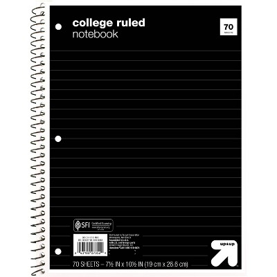 College Ruled 1 Subject Flexible Paperboard Cover Spiral Notebook - up & up™