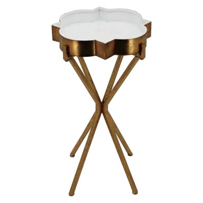 Quatrefoil Tray Side Table Gold   FirsTime