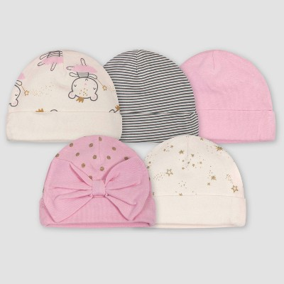 Gerber Baby Girls' 5pkPrincess Caps - Pink/Ivory 0-6M