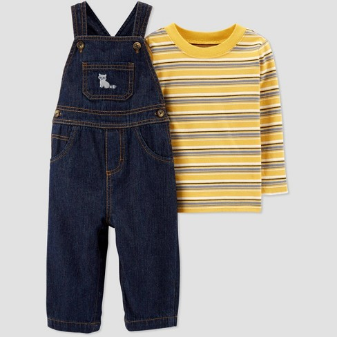 Baby Boys' 2pc Stripe Top & Bottom Set - Just One You® made by carter's Yellow/Blue - image 1 of 1