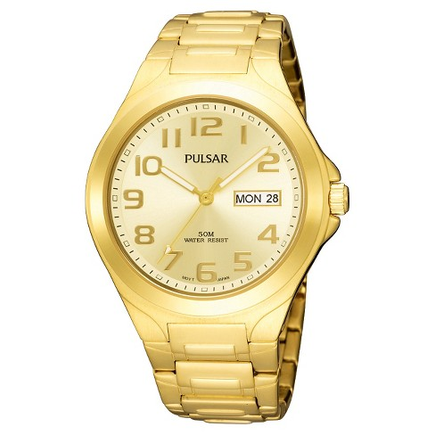 Men's Pulsar Day/Date Functional Watch - Gold Tone with Champagne Dial - PXN152 - image 1 of 1