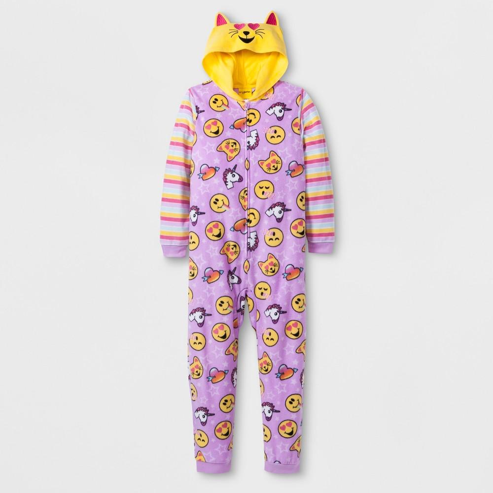 Girls' Emoji Hooded Union Suit - Purple XS