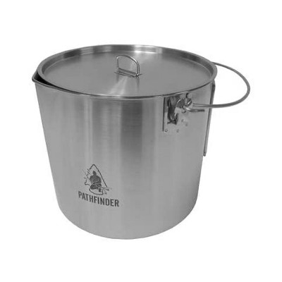 Pathfinder Stainless Steel 120 Ounce Durable Fire Ready Bush Pot and Lid w/ Cool Wing Handle, Pour Spout, and Heavy Duty D Ring for Camping and Hiking