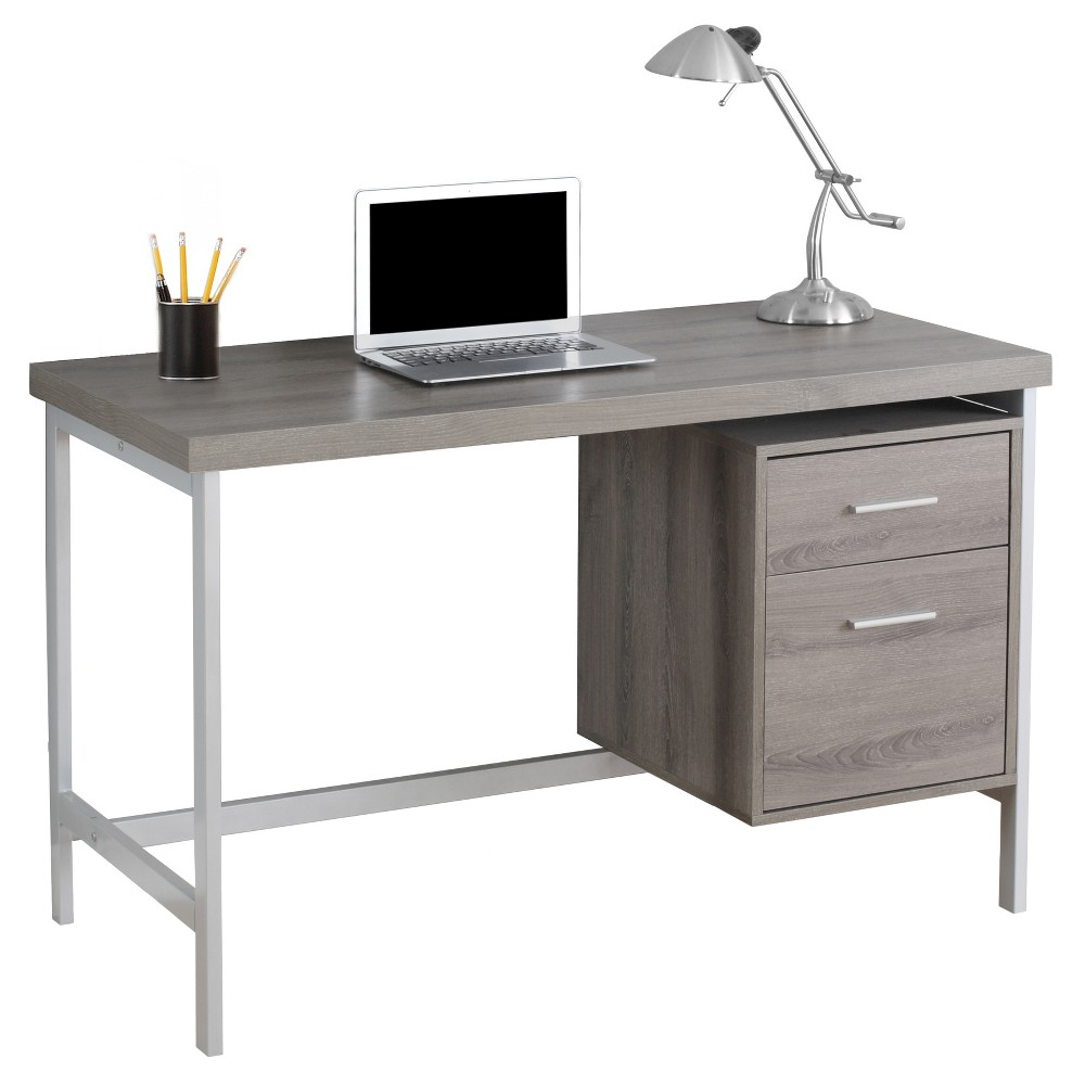 Image of Computer Desk with Drawers - Silver Metal&Dark Taupe - EveryRoom, Brown