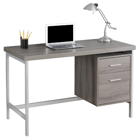 Computer Desk with Drawers - Silver Metal&Dark Taupe - EveryRoom - image 1 of 2