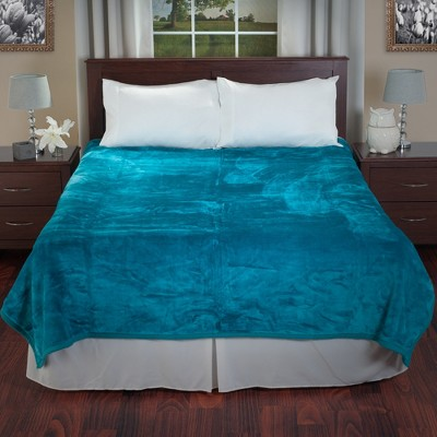 Yorkshire Home Solid Soft Heavy Thick Plush Mink Blanket - Aqua (Queen)