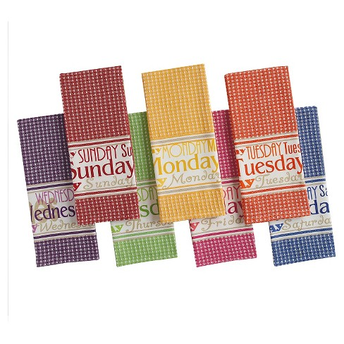 Days Of The Week Printed Dishtowels (Set Of 7) - Design Imports - image 1 of 1