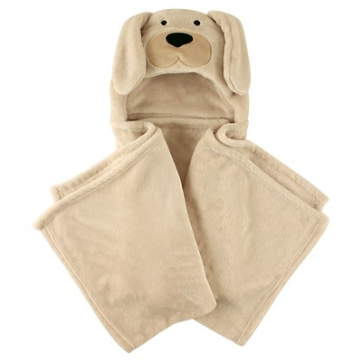 Hudson Baby Coral Fleece Hooded Blanket - Tan Dog