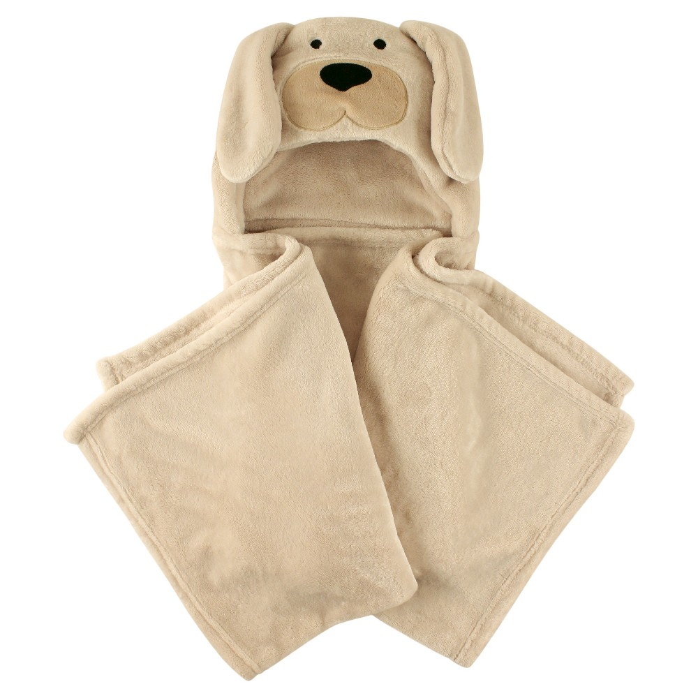 Image of Hudson Baby Coral Fleece Hooded Blanket - Tan Dog, Light Brown