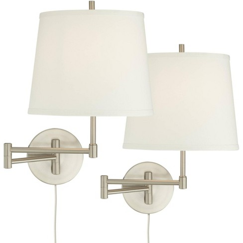 360 Lighting Modern Swing Arm Wall Lamps Set of 2 Brushed Nickel Plug-In Light Fixture Off White Drum Shade Bedroom Living Room - image 1 of 4