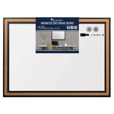"""Quartet 17"""" x 23"""" Magnetic Dry Erase Board - Cork Frame"""
