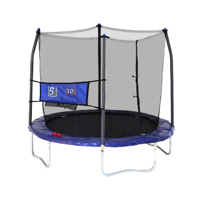 Skywlker Trampolines 8' Round Jump-N-Toss Trampoline with Enclosure - Blue