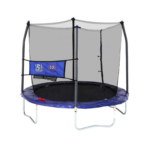Skywlker Trampolines 8' Round Jump-N-Toss Trampoline with Enclosure - Blue - image 1 of 5