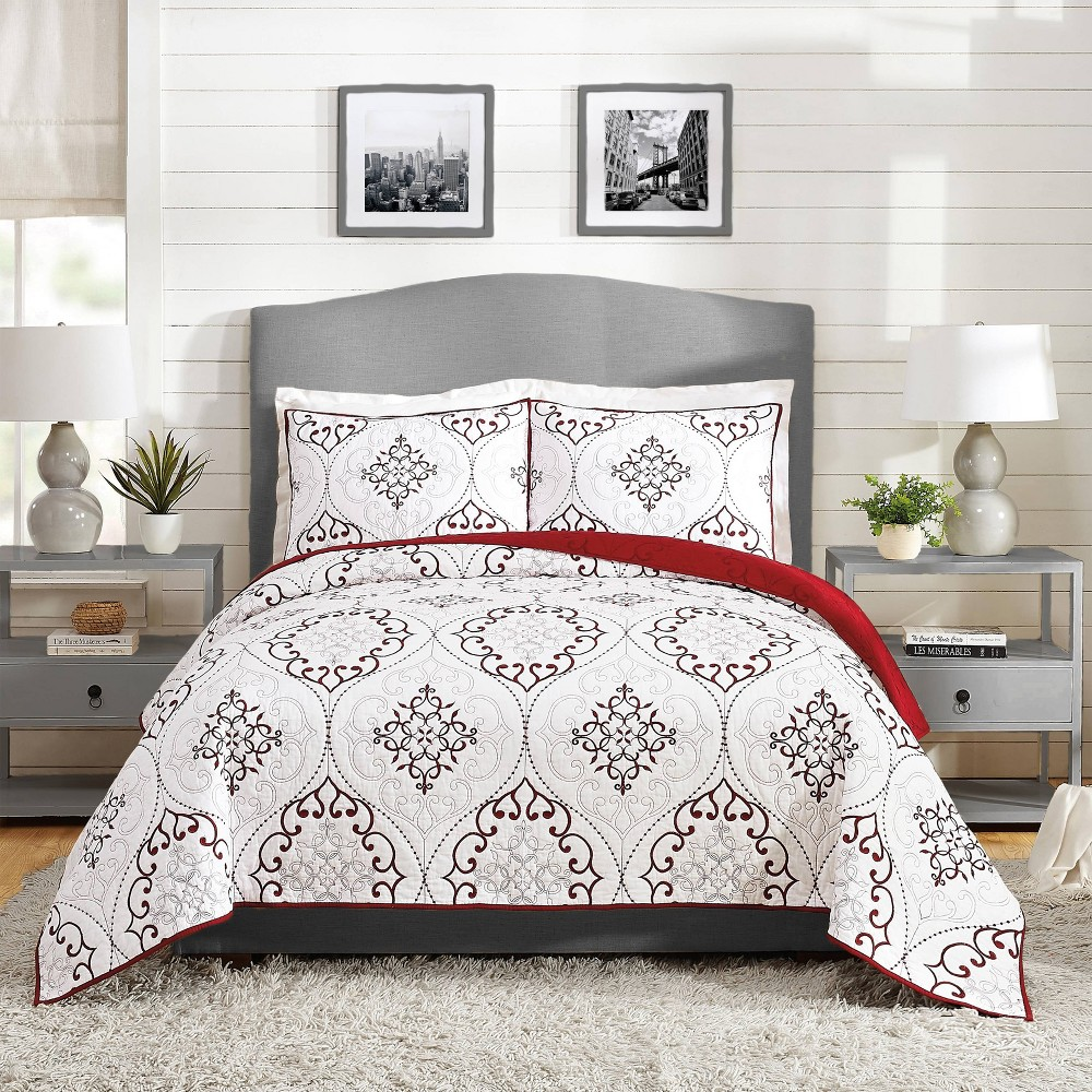 Image of Full/Queen 3pc Chambers Quilt Set Red - Modern Heirloom