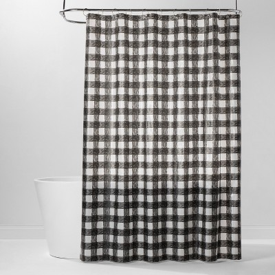 PEVA Buffalo Plaid Shower Curtain Black/White - Room Essentials™