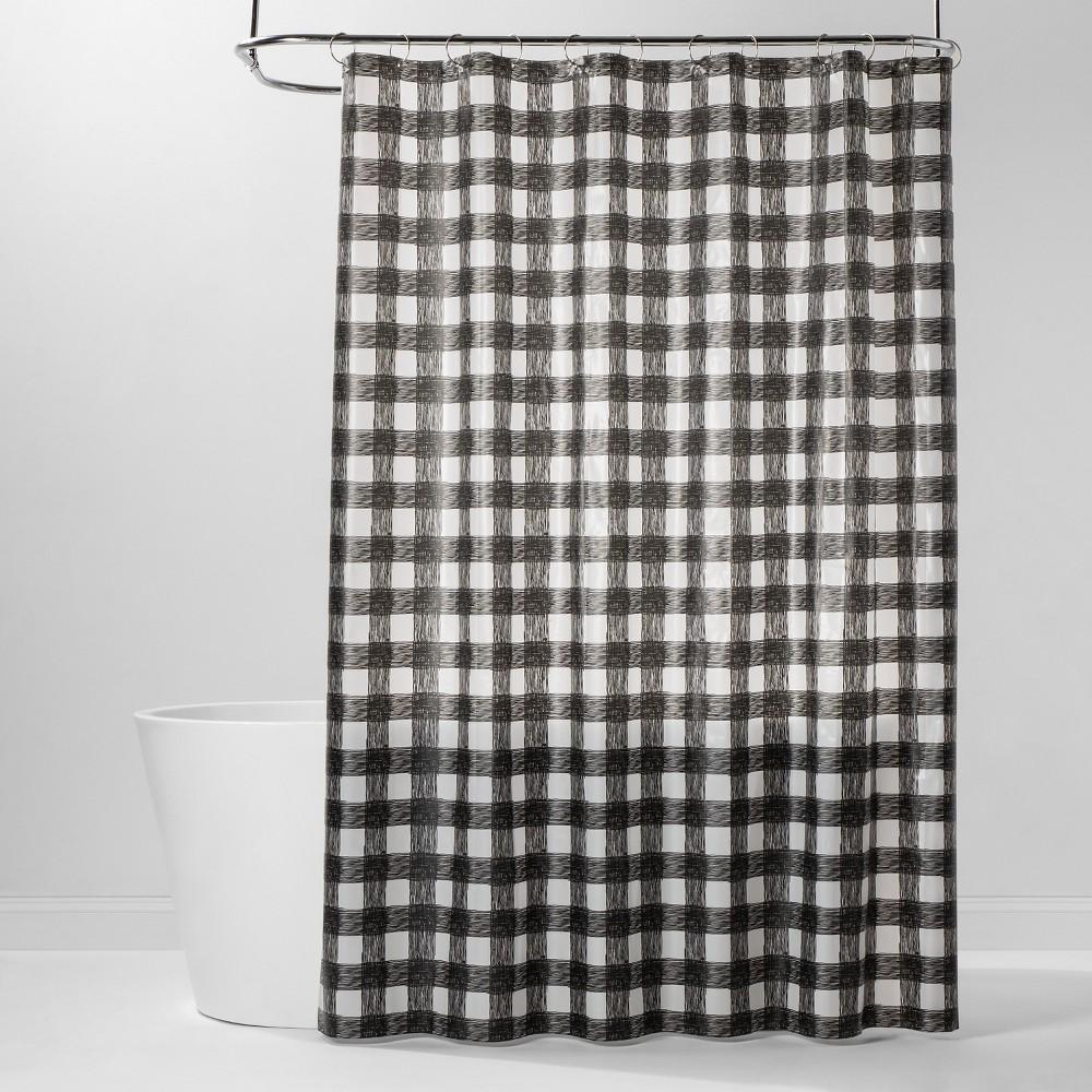 Image of PEVA Buffalo Plaid Shower Curtain Black/White - Room Essentials