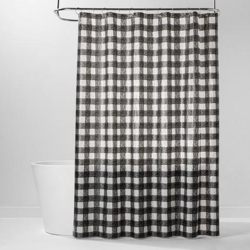 PEVA Buffalo Plaid Shower Curtain Black/White - Room Essentials™ - image 1 of 2
