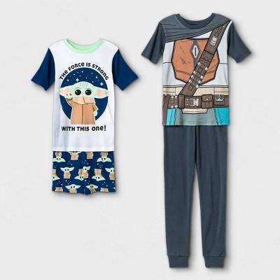 Boys' Star Wars The Child Cosplay 4pc Pajama Set - White/Blue/Gray