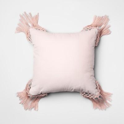 Pink Macrame Velvet Square Throw Pillow (18 x18 )- Opalhouse™