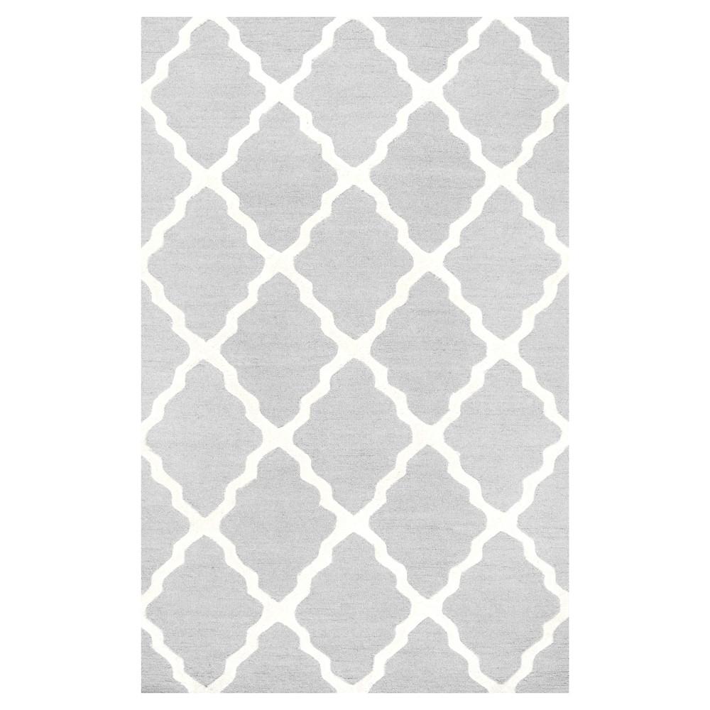 nuLOOM 100% Wool Hand Hooked Marrakech Trellis Area Rug - Gray (6' x 9'), Light Gray