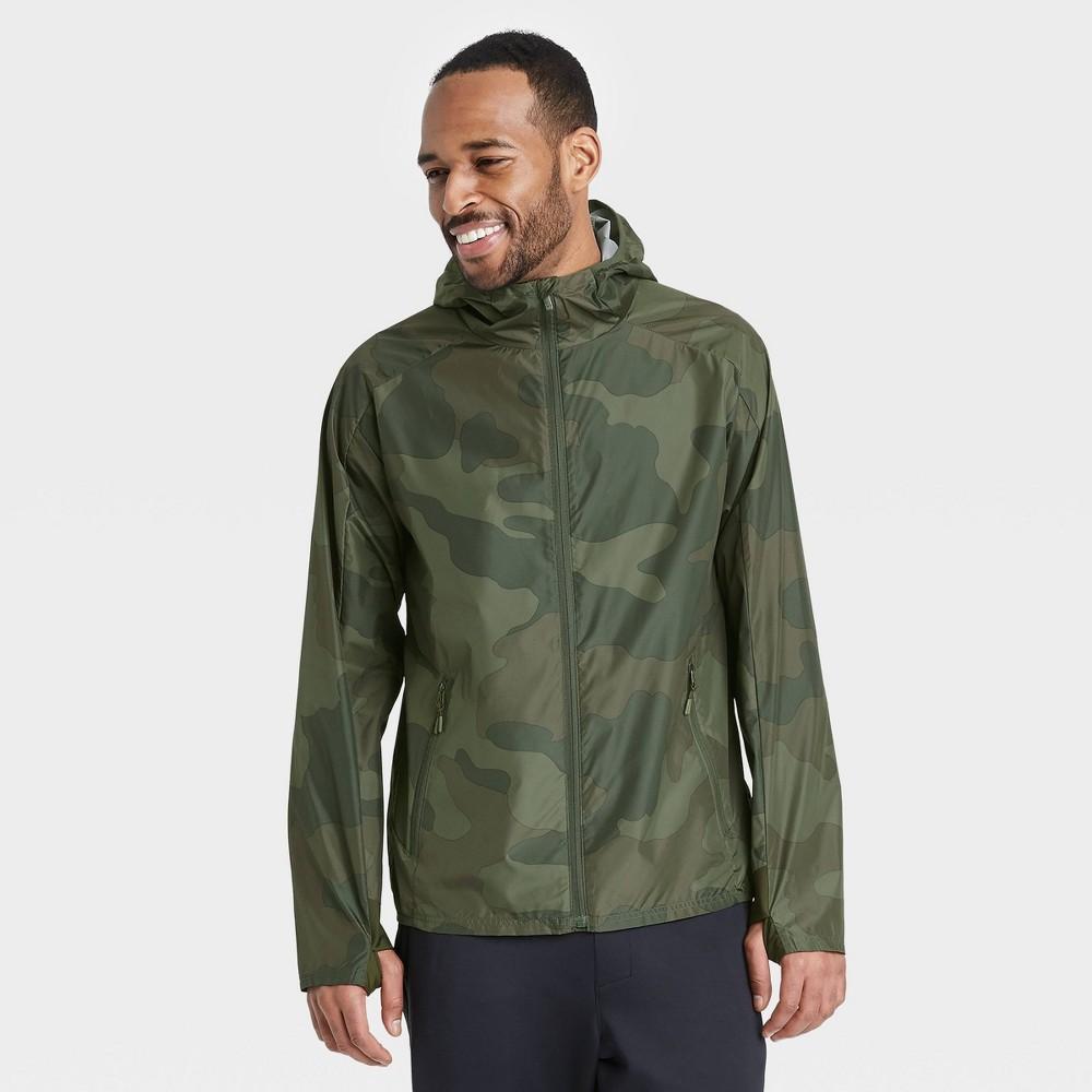 Men 39 S Camo Print Windbreaker Jacket All In Motion 8482 Olive Green M