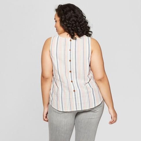f24907a80 Women's Plus Size Sleeveless Crew Neck Button Back Tank Top - Universal  Thread™ White
