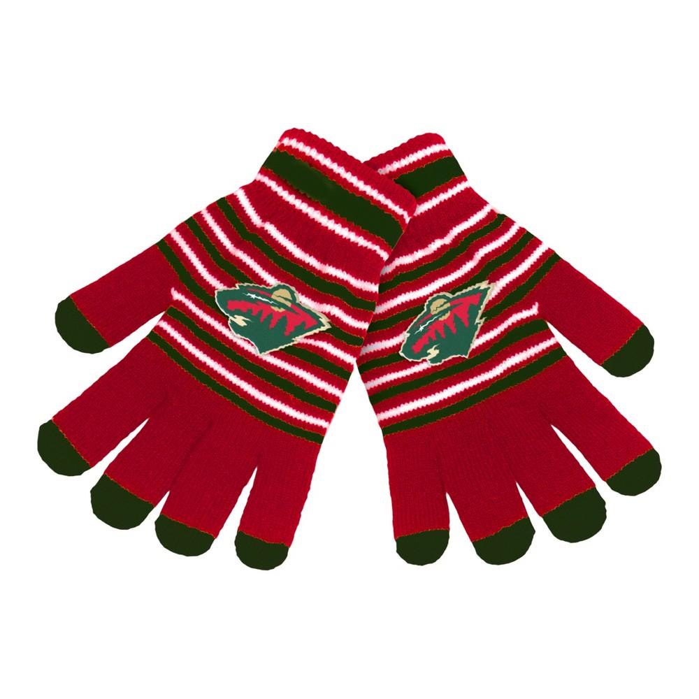 NHL Minnesota Wild Stripe Knit Gloves, Adult Unisex