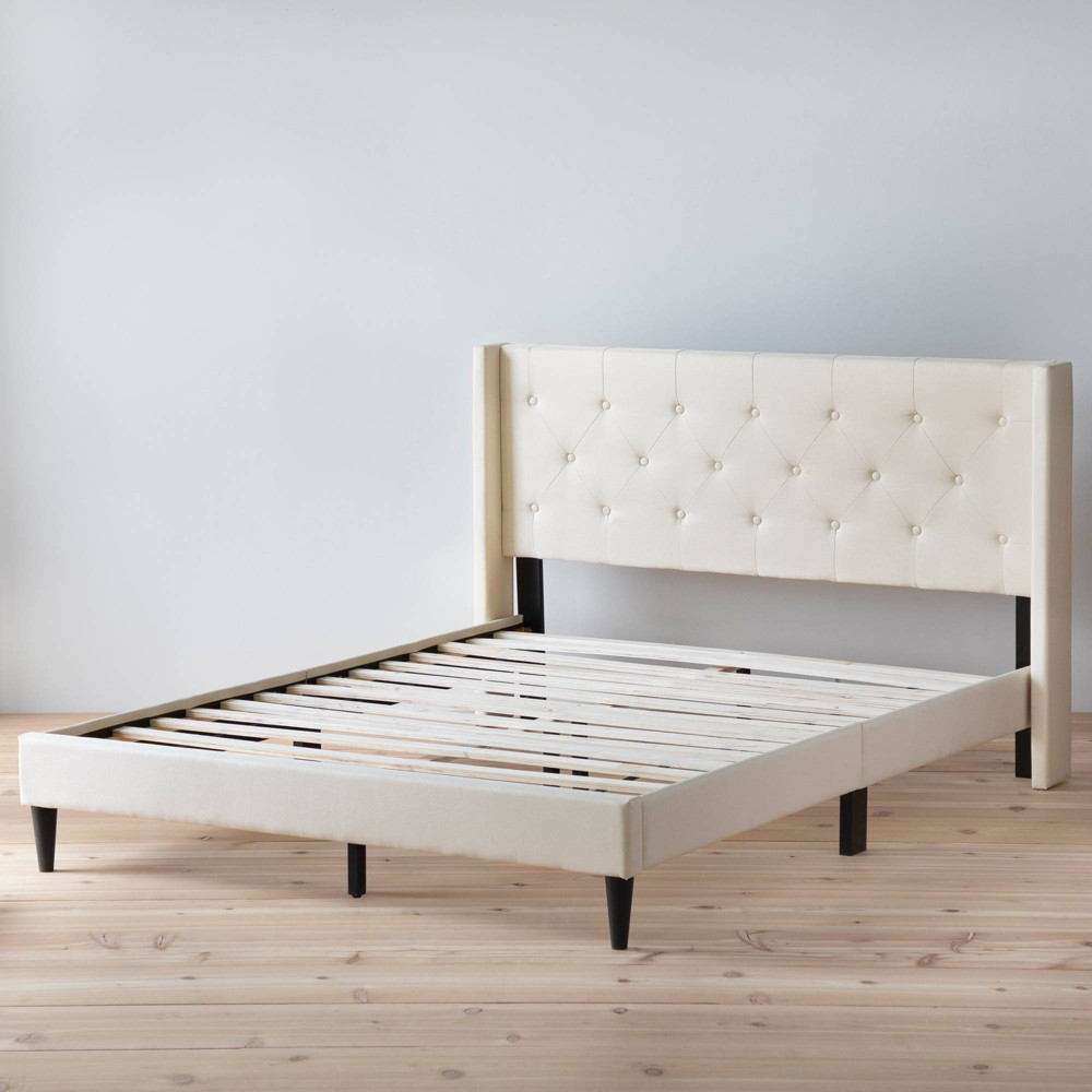 California King Bella Wingback Upholstered Bed Cream Brookside Home
