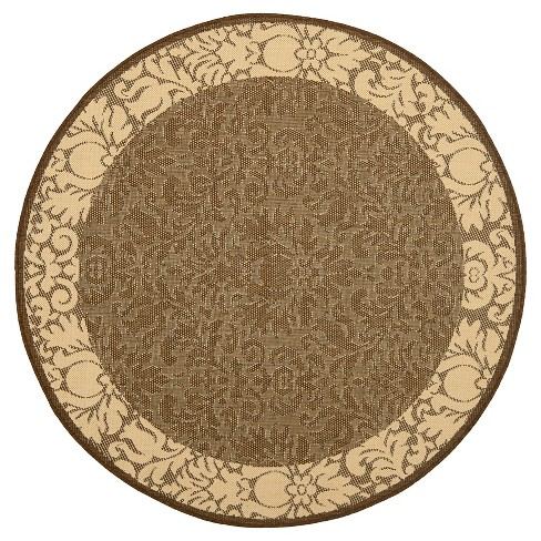"Violetta Round 5'3"" Outdoor Rug - Chocolate / Natural - Safavieh® - image 1 of 1"