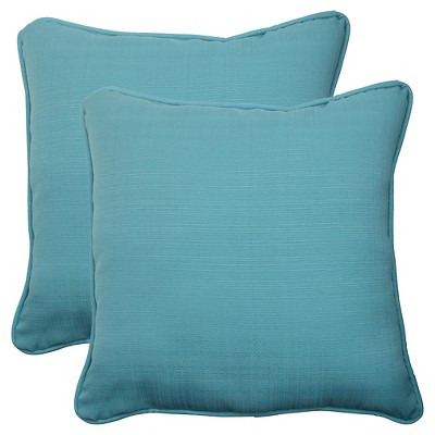 Outdoor 2-Piece Square Toss Pillow Set - Turquoise Forsyth Solid