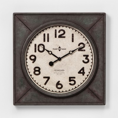 20  Square Industrial Wall Clock Yellow - Threshold™