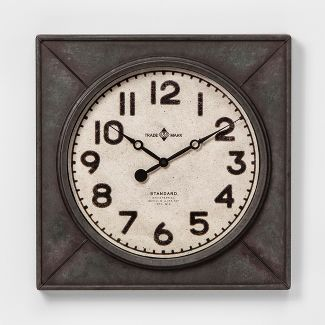 "20"" Square Industrial Wall Clock - Threshold™"