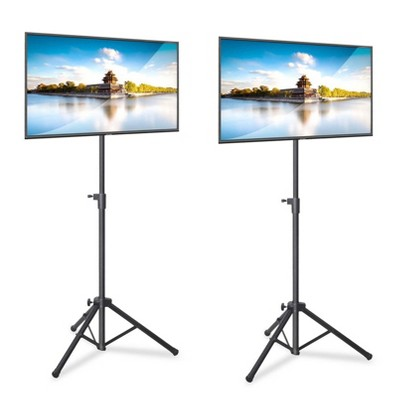 Pyle Foldable Portable Adjustable Height 360 Degree Tilt Steel Tripod Flatscreen TV Stand for Televisions Up to 32 Inches, Black (2 Pack)