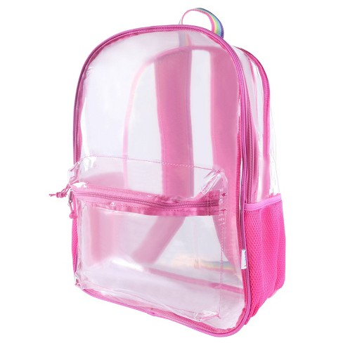 """Crckt 17"""" Clear Backpack - Pink/Rainbow Straps - image 1 of 8"""