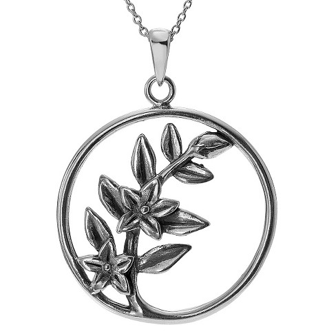 "Women's Journee Collection Periwinkle Flower Pendant Necklace in Sterling Silver - Silver (18"") - image 1 of 2"