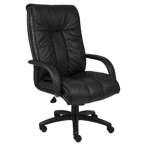 Italian Leather High Back Executive Chair Black - Boss Office Products - image 1 of 2