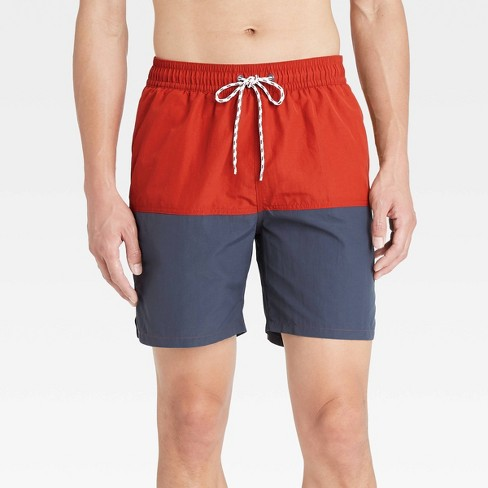 "Men's 7"" Colorblock Swim Trunks - Goodfellow & Co™ Roasted Pepper - image 1 of 3"