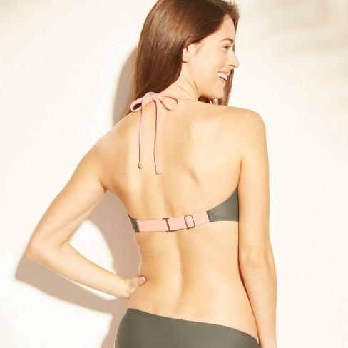 c32767f0f9a19 Women s Zip Front Ribbed Bralette Bikini Top - Xhilaration™ Olive D DD Cup    Target