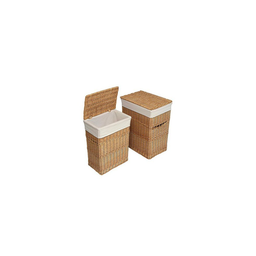 Image of Badger Basket Set of 2 Hampers with Liners - Natural, Nat