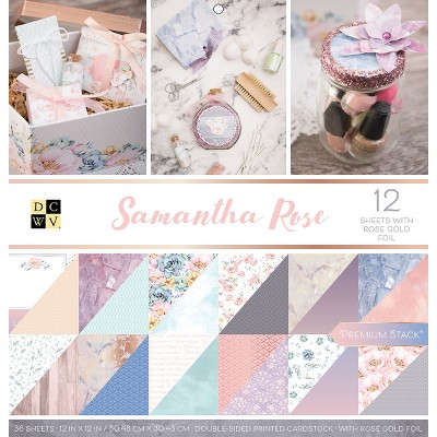 """DCWV Double-Sided Cardstock Stack 12""""X12"""" 36/Pkg-Samantha Rose, 18 Designs/2 Each"""