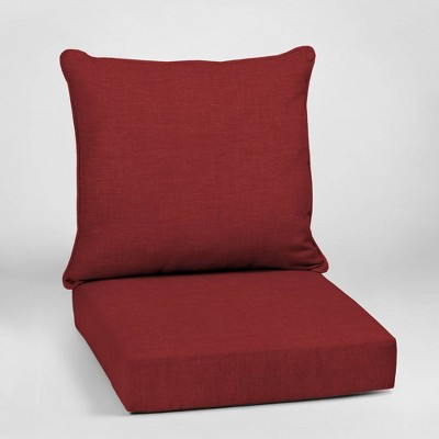 Leala Texture Deep Seat Outdoor Cushion Set Ruby - Arden Selections
