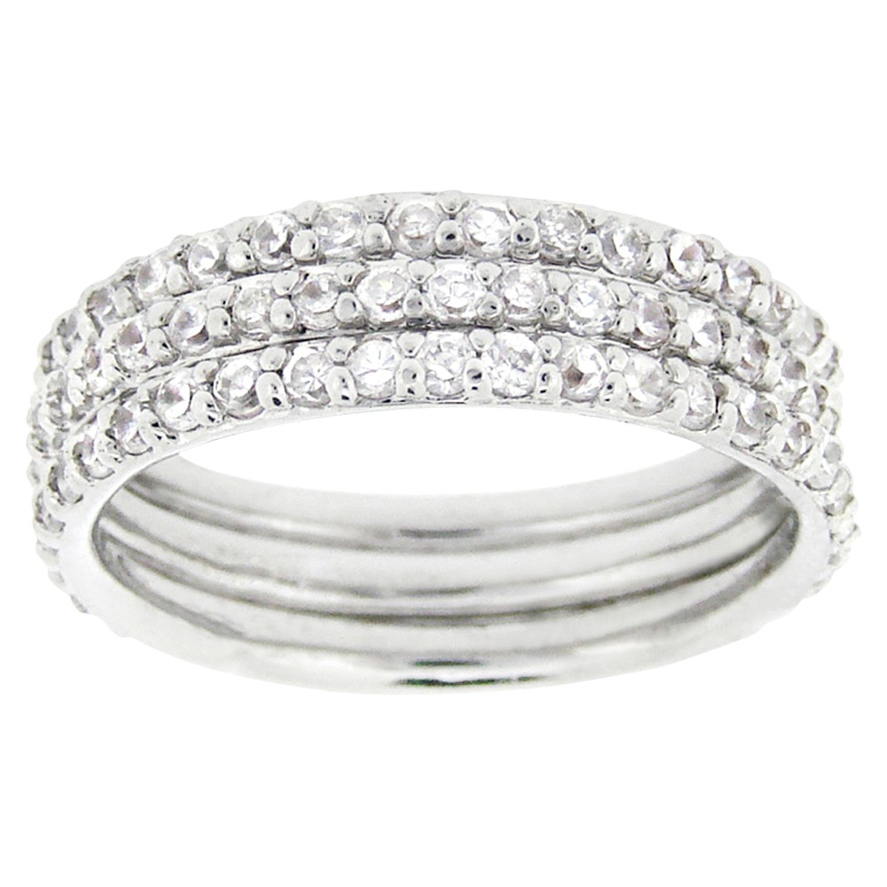 Sterling Silver Cubic Zirconium Stackable Eternity Ring Set - Silver (9)