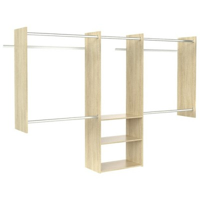 Easy Track 3 Shelf Deluxe Starter Closet Storage Wall Mounted Wardrobe Organizer System Kit with Shelves and Rods, Honey Blonde