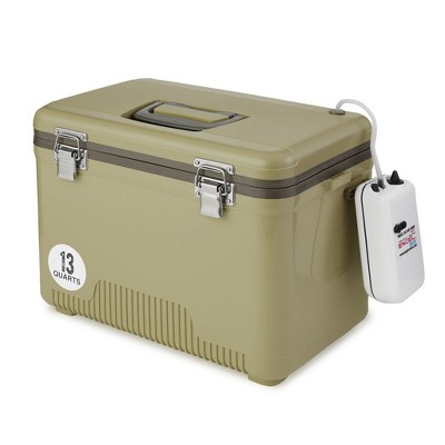 Engel 13 Quart Portable Insulated Live Bait Fishing Dry Box 18 Can Hard Airtight Cooler with Water Speed Aerator Pump and Removable Pull Net, Tan