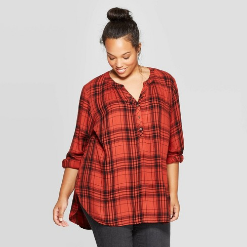 Women's Plus Size Plaid Long Sleeve V-Neck Tunic Shirt - Universal Thread™ Red - image 1 of 3