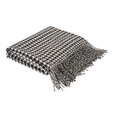 """60"""" x 50"""" Acrylic Houndstooth Woven Throw Blanket Black and White - Glitzhome"""